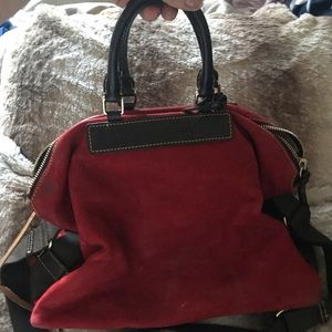 Red Dooney and Burke bag: suede and leather